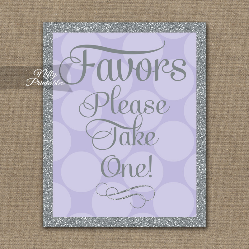 Favors Sign - Lilac Silver Dots