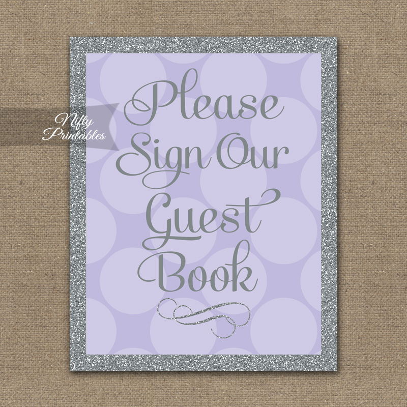 Guest Book Sign - Lilac Silver Dots