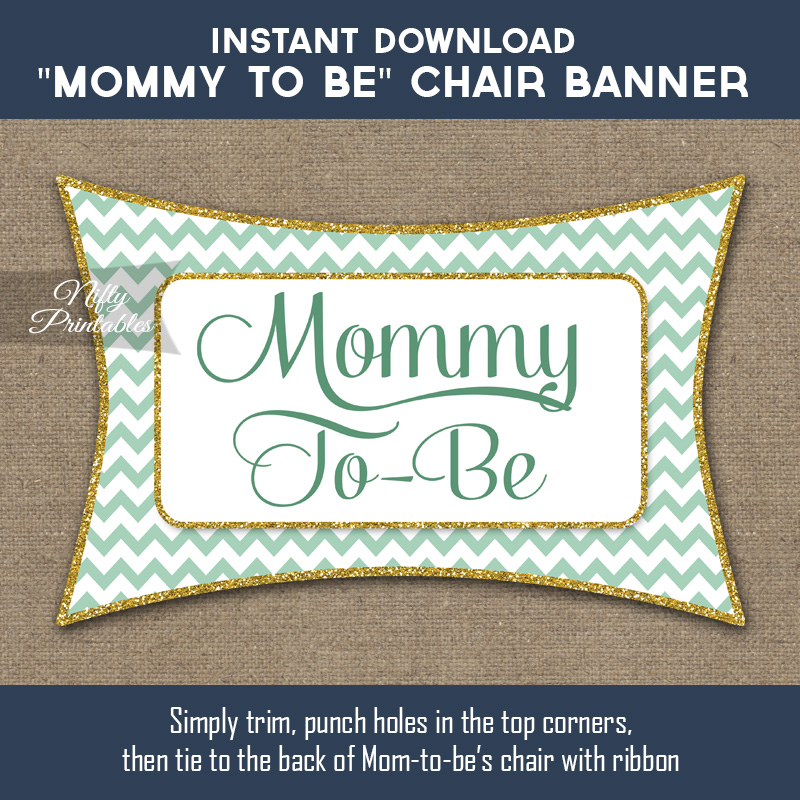 Baby Shower Chair Sign - Mint Gold Chevron