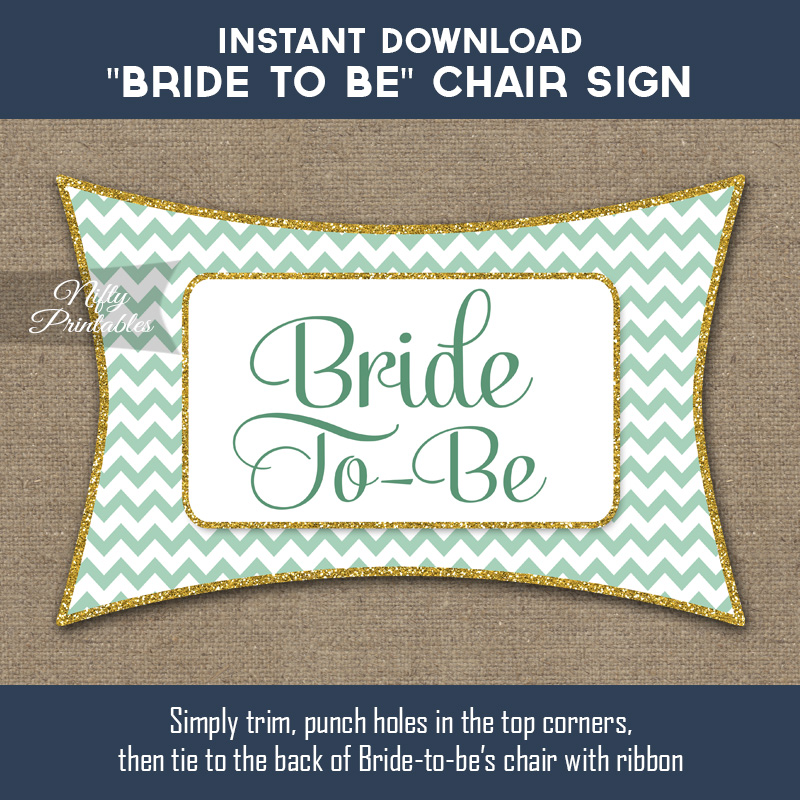 Bridal Shower Chair Banner - Mint Chevron