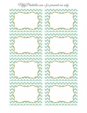 Food Labels - Nametags - Mint Chevron