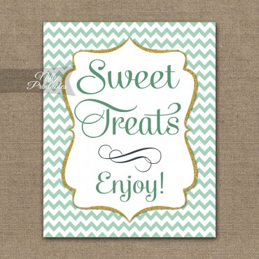 Sweet Treats Dessert Sign - Mint Chevron