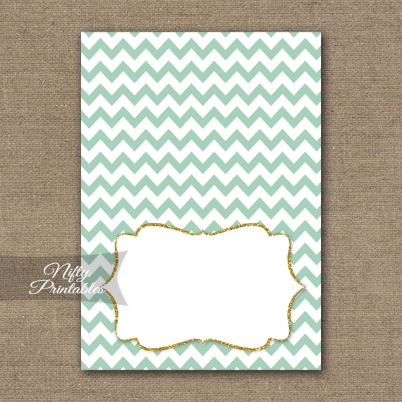 Tent Cards - Place Cards - Buffet Cards - Mint Chevron