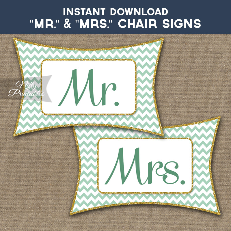 Mrs & Mrs Chair Signs - Mint Chevron