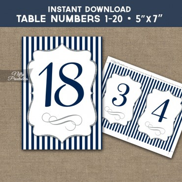 Table Numbers - Navy Silver