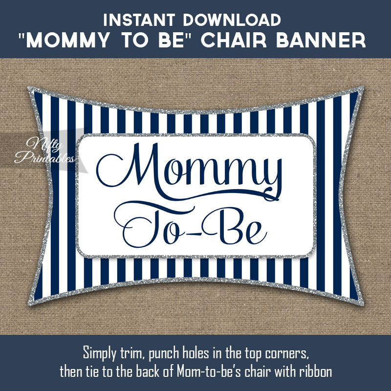 Baby Shower Chair Sign - Navy Blue Silver