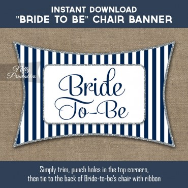 Bridal Shower Chair Sign - Navy Blue Silver