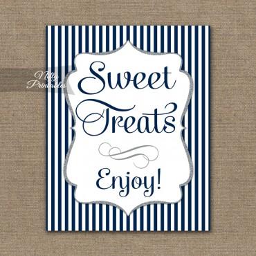 Sweet Treats Dessert Sign - Navy Blue Silver