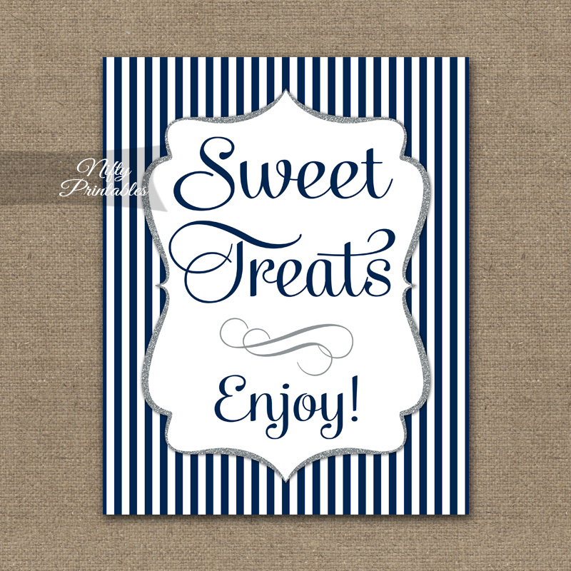 Sweet Treats Dessert Sign - Navy Blue Silver