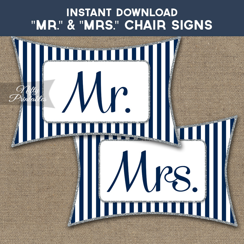 Mrs & Mrs Chair Signs - Navy Silver