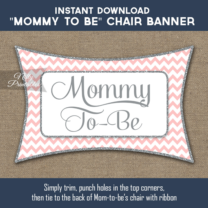 Baby Shower Chair Banner - Pink Silver Chevron