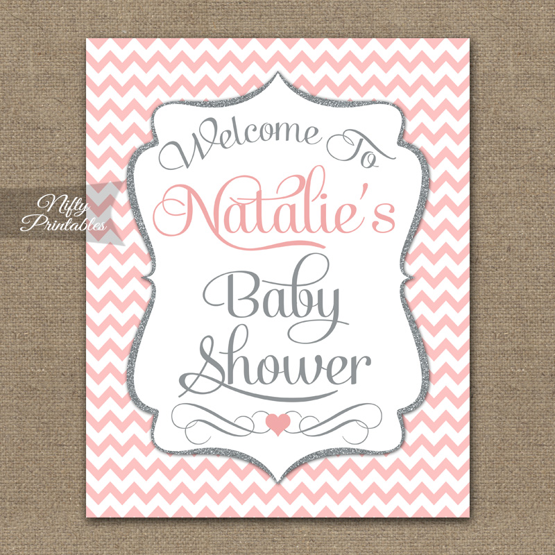 Pink Gray Baby Shower Welcome Sign