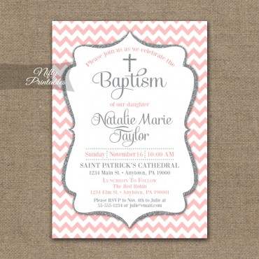 Pink Gray Baptism Invitations - Silver Glitter