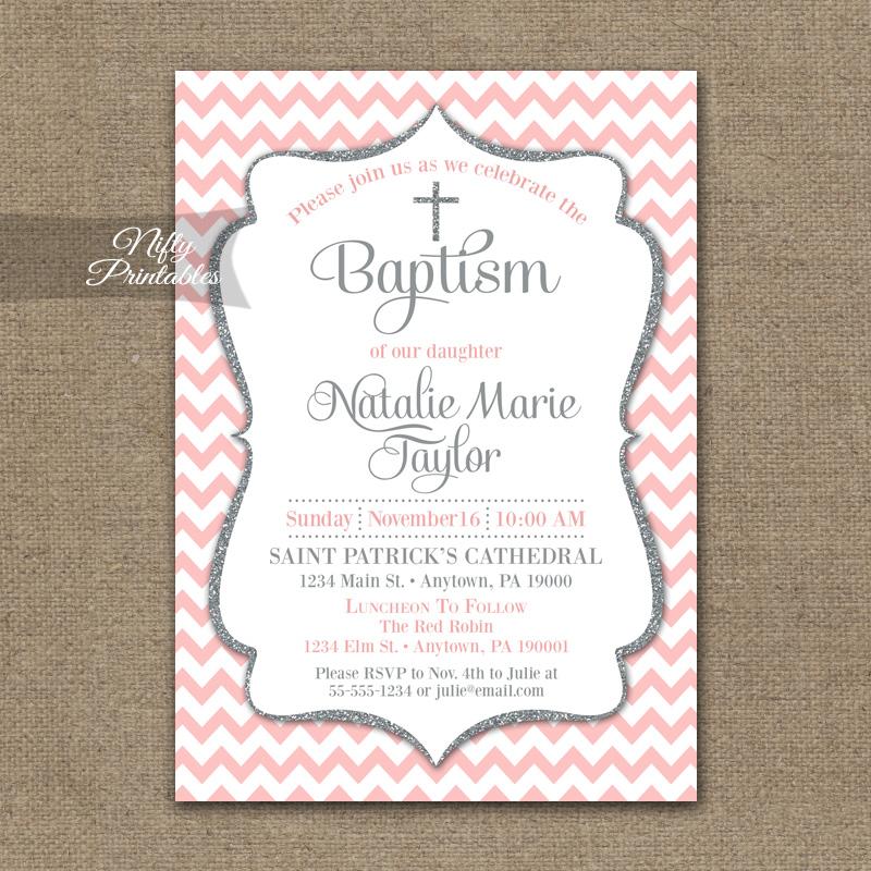 pink gray baptism invitations silver glitter nifty printables