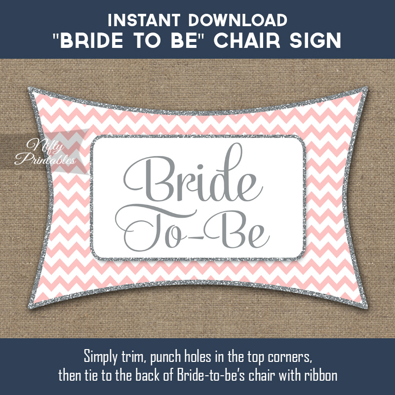 Bridal Shower Chair Banner - Pink Silver Chevron