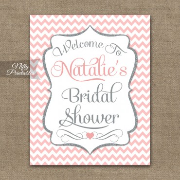 Pink Silver Bridal Shower Welcome Sign