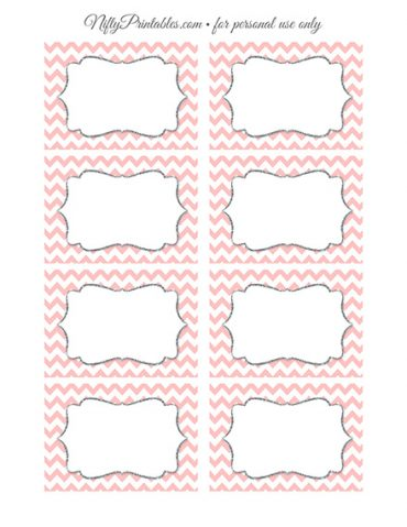 Food Labels - Nametags - Pink Chevron