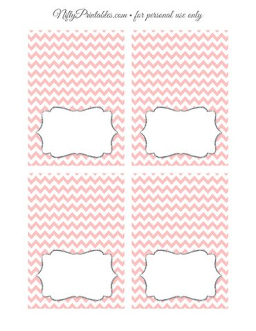 Tent Cards - Place Cards - Buffet Cards - Pink Chevron