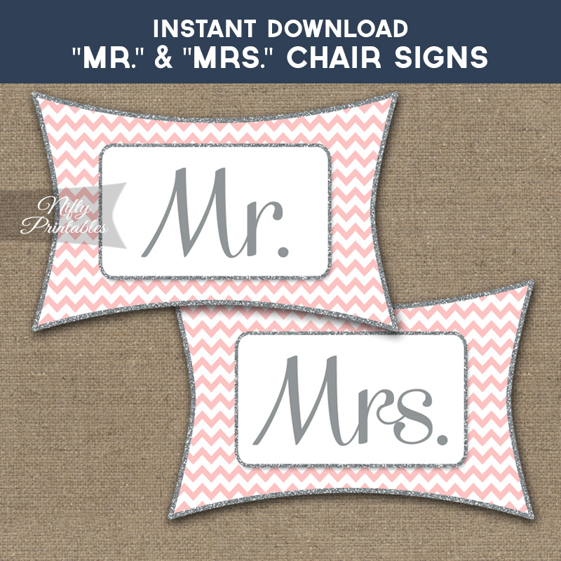 Mrs & Mrs Chair Signs - Pink Silver Chevron
