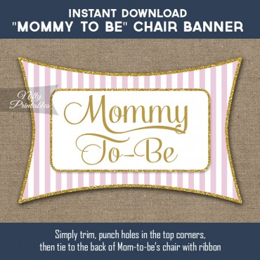 Baby Shower Chair Sign - Pink Gold
