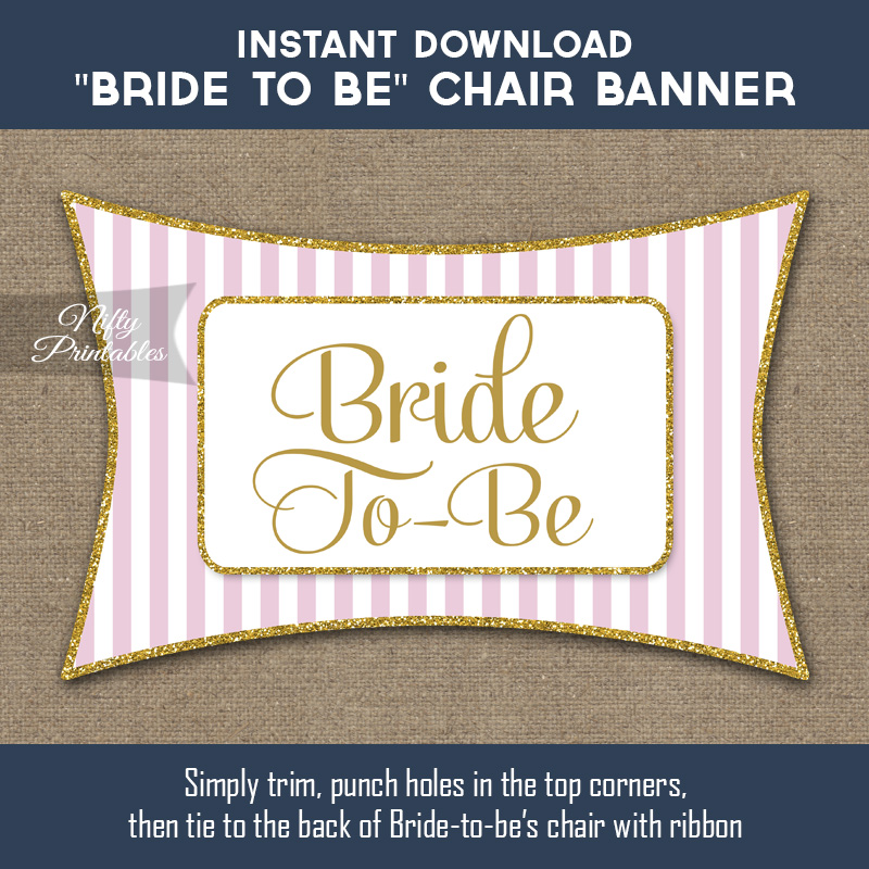 Bridal Shower Chair Sign - Pink Gold
