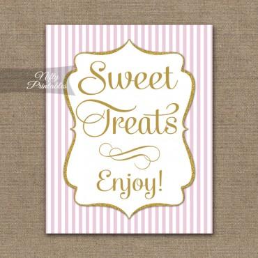Sweet Treats Dessert Sign - Pink Gold Stripe