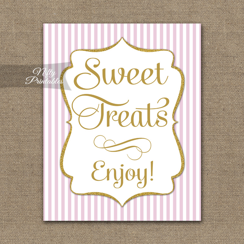 Sweet Treats Dessert Sign - Pink Gold Stripe