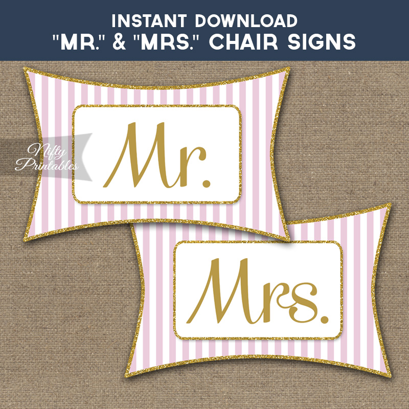 Mrs & Mrs Chair Signs - Pink Gold Stripe