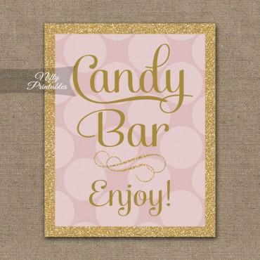 Candy Buffet Sign - Pink Gold Dots