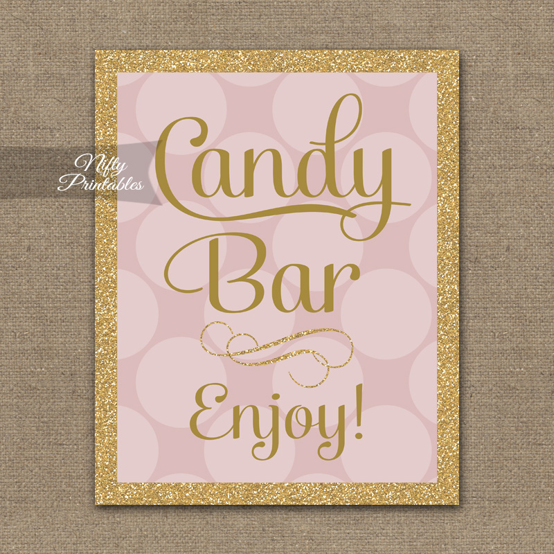 Candy Buffet Sign - Pink Gold Dots