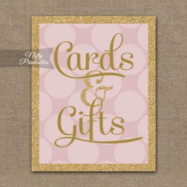 Cards & Gifts Sign - Pink Gold Dots