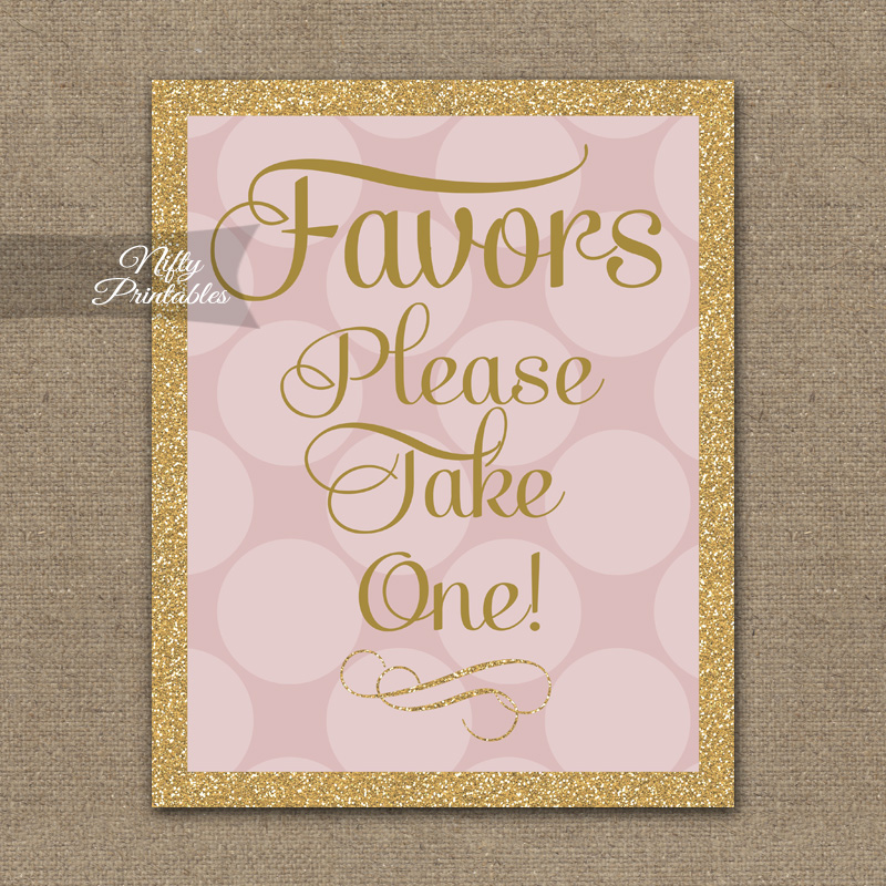 Favors Sign - Pink Gold Dots