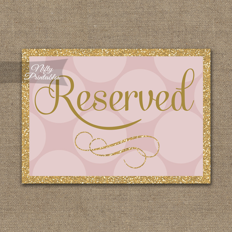Printable Reserved Sign Pink Gold Dots
