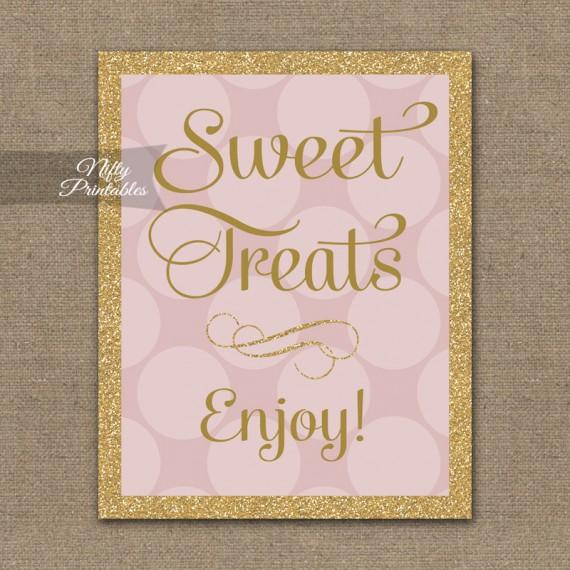 Sweet Treats Dessert Sign - Pink Gold Dots