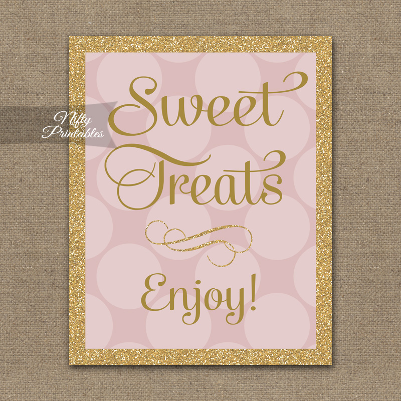 Sweet Treats Dessert Sign Pink Gold Dots