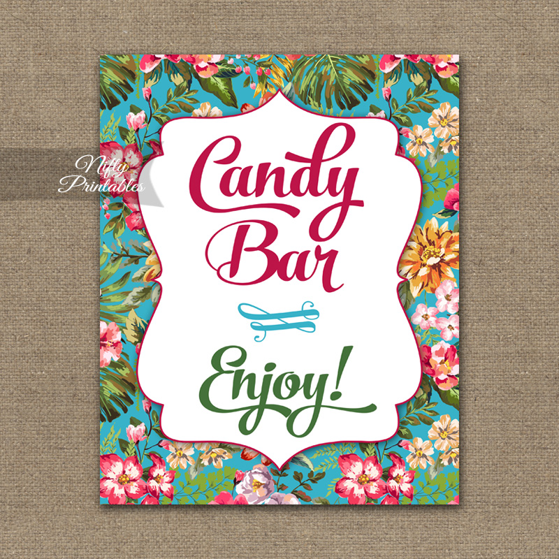Candy Buffet Sign - Hawaiian Tropical Floral