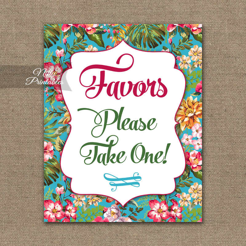 Favors Sign - Hawaiian Tropical Floral