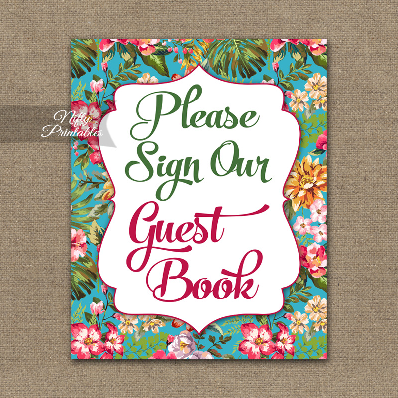 Guest Book Sign - Hawaiian Tropical Floral