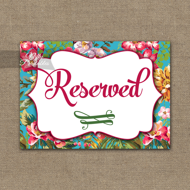 Reserved Sign - Hawaiian Tropical Floral