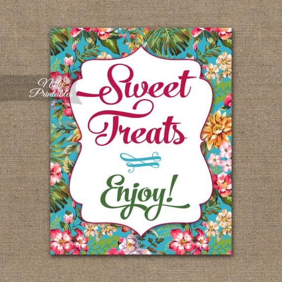 Sweet Treats Dessert Sign - Hawaiian Tropical Floral