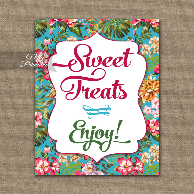 Sweet Treats Dessert Sign - Hawaiian Tropical Floral