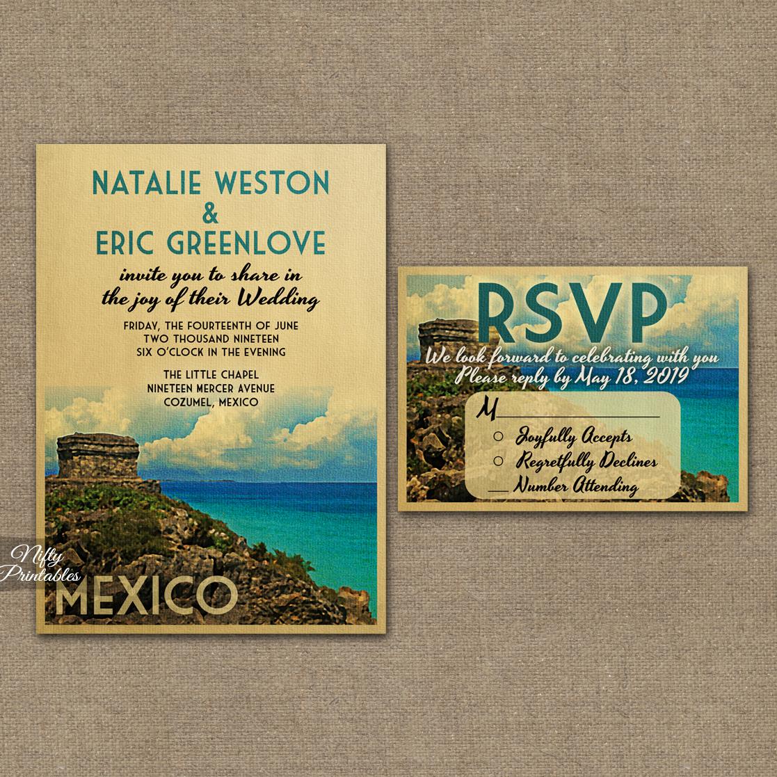Tulum Mexico Wedding Invitations VTW