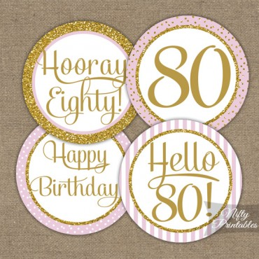80th Birthday Cupcake Toppers - Pink Gold
