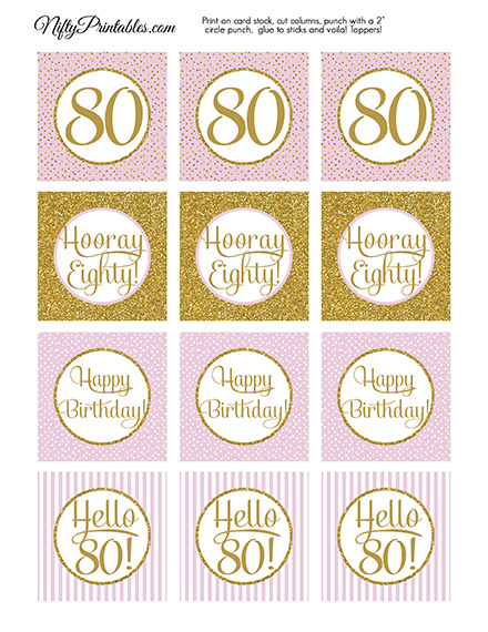 80th Birthday Cupcake Toppers