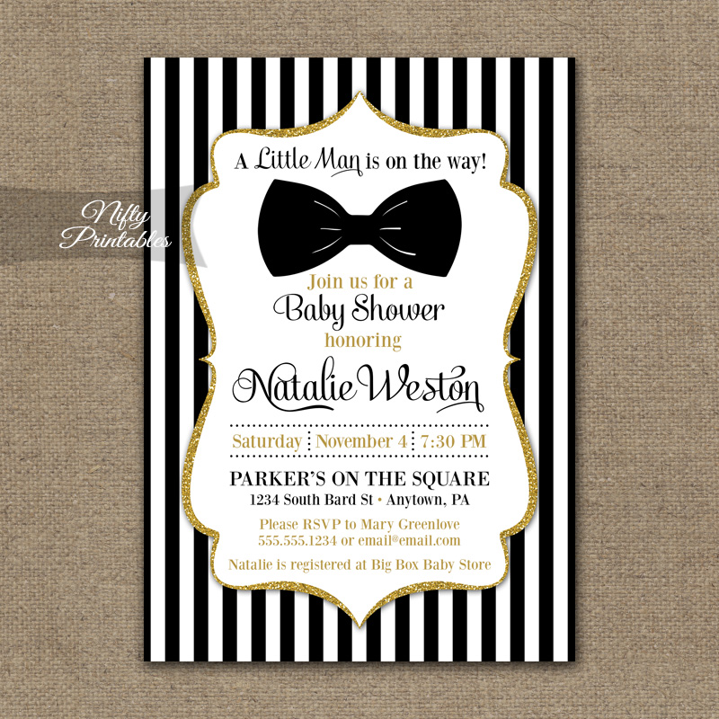 Bow Tie Baby Shower Invitations - Black Gold
