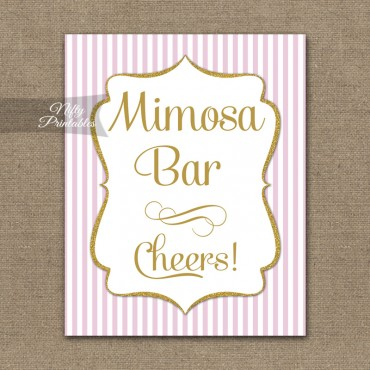Mimosa Bar Sign - Pink Gold Stripe