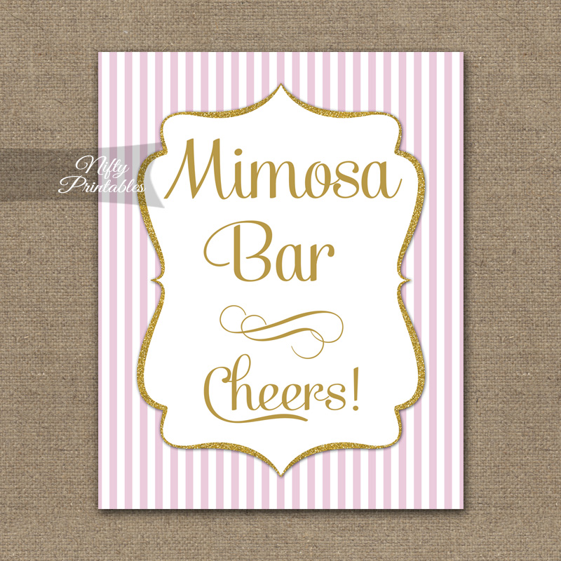 Mimosa Bar Sign - Pink Gold Stripe