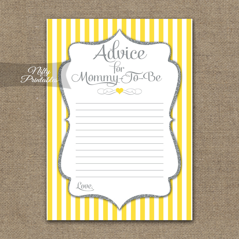 Advice For Mommy Baby Shower Game - Yellow Gray Silver