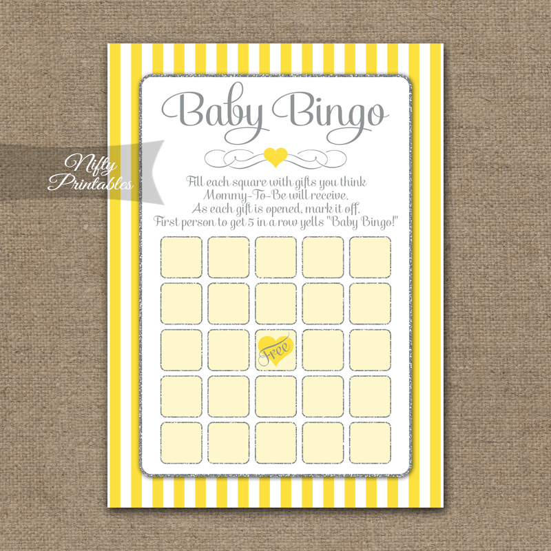 Baby Shower Bingo Game - Yellow Gray Silver