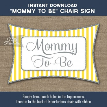 Baby Shower Chair Sign - Yellow Gray Silver